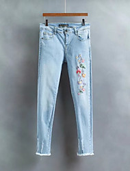 Femme Street Chic Taille Normale strenchy Skinny Jeans Pantalon,Large Bandes Fleur Fleur Broderie
