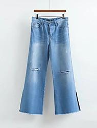Femme Street Chic Taille Normale strenchy A Volants Jeans Pantalon,Large Couleur unie Bandes Couleur Pleine