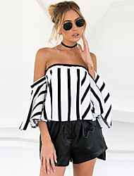 Women's Holiday Going out Sexy Street chic Spring Summer T-shirt,Striped Boat Neck Short Sleeve Cotton Thin