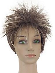 Woman Brown Mixed Short Curly Layered Synthetic Natrural Hair Wig  High Temperature Fiber
