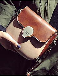 Women Shoulder Bag PU All Seasons Casual Outdoor Round Magnetic Brown Yellow Gray