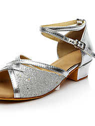 Women's Latin Paillette Sneakers Performance Paillettes Low Heel Silver Customizable