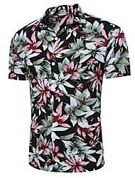 Для мужчин На выход На каждый день Все сезоны Лето Рубашка Рубашечный воротник,Простое Уличный стиль Панк & Готика Цветочный принтС