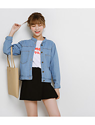 Women's Going out Casual/Daily Simple Fall Denim Jacket,Solid Shirt Collar Long Sleeve Short Cotton