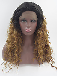 Natural Straight Long Black Brown Ombre Wig Synthetic Lace Front Wigs Heat Resistant Fiber Two Tone Hair For Women