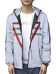 Men's Daily Casual Nature Inspired Casual Spring/Fall Jacket,printing Hooded Long Sleeve Regular Polyester Taffeta