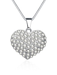 Жен. Ожерелья с подвесками Кристалл Цирконий Искусственный жемчуг В форме сердца Искусственный жемчуг Циркон Цирконий Серебрянное покрытие