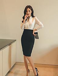 Для женщин На каждый день Офис Весна Рубашка Юбки Костюмы V-образный вырез,Формальная Однотонный Длинный рукав