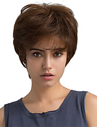 Enchanting Natural Waves Brown Short Hair Human Hair Wigs For Woman