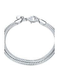 Exquisite Silver Plated Flat Snake Bones Style Bracelet Chain & Link Bracelets Jewellery for Women Accessiories