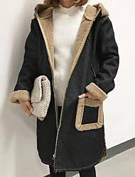 Feminino Casaco Acolchoado,Simples Sólido Casual-Lã Lã Manga Longa