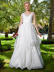 A-line V-neck Floor Length Organza Wedding Dress with Bow(s) Sashes/ Ribbons by LAN TING BRIDE®