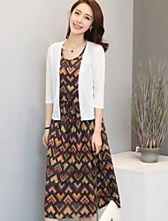 Blazer Robes Costumes Femme,Formes Géométriques Quotidien Décontracté Moderne Eté Manches 3/4 Col Arrondi