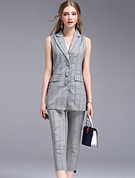 Debardeur Pantalon Costumes Femme,Grille / motifs Carreaux Travail simple Eté Sans Manches Col de Chemise Mosaïque non élastique