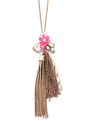 Lureme Vintage Rose Gold Long Chain Necklace with Tassel and Flowers Pendants for Women