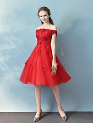Robe de bal longueur de genou longueur de tulle robe de date avec beading