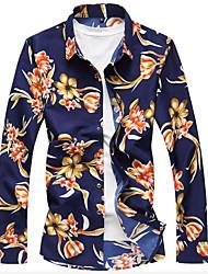 Men's Casual Chinoiserie Spring Fall Shirt,Floral Shirt Collar Long Sleeve Cotton Blend Medium