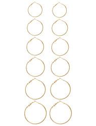 Mulheres Parte de Trás do Brinco Brincos em Argola Circular Original Moda Euramerican Estilo simples Formato Circular Forma Geométrica