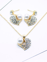 Women's Jewelry Set Rhinestone Pendant Imitation Pearl Rhinestone Alloy Heart For Wedding Party Special Occasion Anniversary Birthday