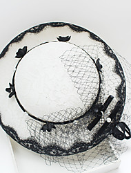Tulle Chiffon Imitation Pearl Net Headpiece-Wedding Special Occasion Birthday Party/ Evening Fascinators Hats 1 Piece
