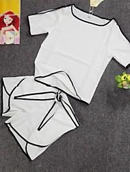 Для женщин Повседневные Весна Лето Как у футболки Брюки Костюмы Круглый вырез,Милая Мода Однотонный Полоски Рисунок Классический Стильные