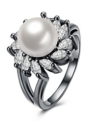 Women's Ring Imitation Pearl AAA Cubic ZirconiaBasic Circular Unique Design Tattoo Style Rhinestone Natural Geometric Circle Friendship