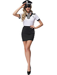 Women Sexy Police Costumes Party Costume Police Career Costumes Festival/Holiday Halloween Costumes Print Cravat Dress Hats Weapons and Armor