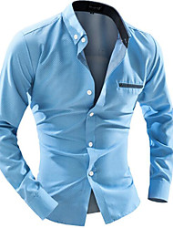 Men's Casual/Daily Work Simple Spring Fall Shirt,Solid Button Down Collar Long Sleeves Cotton Others