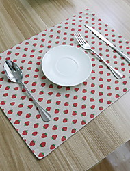 Korean Strawberry Thickened Double Sided Cotton And Linen Material Table Cloth 32*45cm