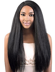 Perruque avant en dentelle glamour droite et élégante à la fine pointe de la lune 100% cheveux bruns brésiliens humains cheveux sans
