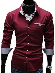 Мужской Однотонный Рубашка На каждый день / Для офиса / Для торжеств и мероприятий,Хлопок / Смесь хлопка,Длинный рукав,Черный / Красный /