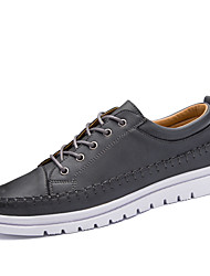 Men's Oxfords Comfort Fall Winter Leather Casual Outdoor Office & Career Lace-up Flat Heel Black Gray Khaki Flat