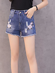 Women's Mid Rise Micro-elastic Jeans Shorts Pants,Simple Wide Leg Print