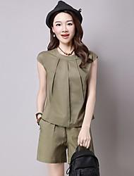 Mujer Simple Casual Verano T-Shirt Pantalón Trajes,Escote Redondo Un Color Sin Mangas Microelástico