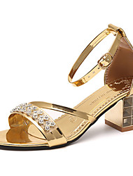 Damen High Heels Komfort Pumps PU Sommer Normal Kleid Walking Komfort Pumps Glitter Schnalle Blockabsatz Gold Weiß Schwarz 7,5 - 9,5 cm
