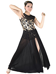 MiDee Ballet Dancewear Adults' Children's Floral Sequined Maxi Dancing Dress Modern Dance Lyrical Dress