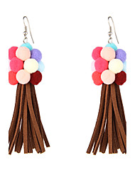 Lovely Rainbow Pom Pom with Brown Tassel Earrings Dangle for Women and Girls