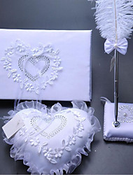 Wedding Ceremony Three Pieces/Feather Check-in Pen Sign-in Book Ring Pillow Suit