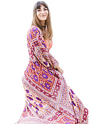 Women's Holiday Going out Sexy Loose Dress,Rainbow Round Neck Maxi Long Sleeve Polyester Spandex Summer Low Rise Micro-elastic Thin