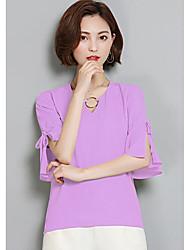 Tee-shirt Femme,Couleur Pleine Décontracté / Quotidien simple Demi Manches Col en V Rayonne