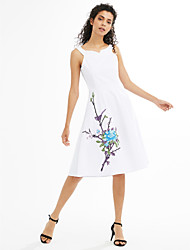 Women's Beach Holiday Going out Casual/Daily Simple Cute A Line Dress,Embroidery Round Neck Knee-length Sleeveless Polyester Spandex