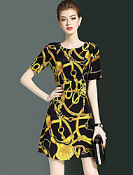YHSPWomen's Going out Casual/Daily Simple Sophisticated A Line Sheath DressPrint Printing Round Neck Above Knee Short Sleeve Silk 100%Silk