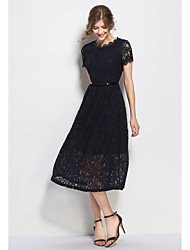 SHE'SWomen's Casual/Daily Work Vintage Sophisticated Swing DressSolid Round Neck Maxi Short Sleeve Polyester Summer Low Rise Inelastic Thin