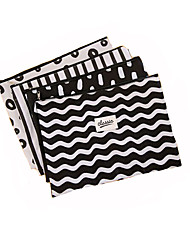 Creative Canvas Stripe Storage Bag Pencil Case Pencil Box A4 File Pocket 1pc