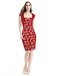 Womens Sexy Elegant Flower Jacquard Fabric Casual Party Evening Mother of Bride Special Occasion Bodycon Dress