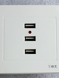 Type 86 USB*3 Power Outlet   Automatic Power-Off  White