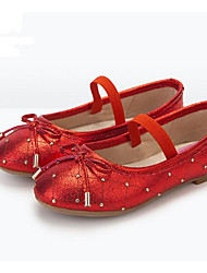 Girls' Flats Comfort Cowhide Spring Fall Casual Walking Comfort Magic Tape Low Heel Ruby Black Flat