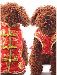 Собака Жилет Одежда для собак Новый год Геометрические линии Красный