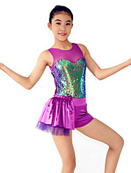 MiDee Jazz Dresses Women's / Children's Performance Spandex / Sequined Draped/ Sequins 1 Piece Purple Jazz Sleeveless