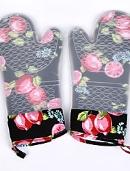 2PC Silicone Oven Mitts Quilted Liner Cherry Pattern BBQ Grilll